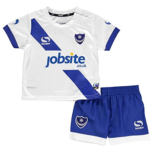 Sondico Kids Portsmouth Away Kit 2016 2017 Baby T Shirt Shorts Bottoms Top White/Pomp Blue 12-18 Mnth