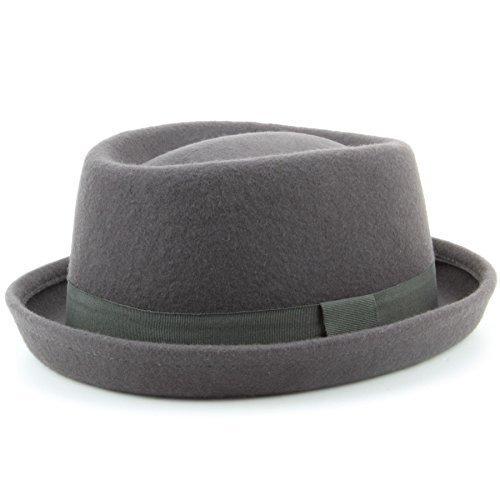 Sombrero canotier de lana trilby, sombrero de fieltro, 100 % cómodo, unisex,...
