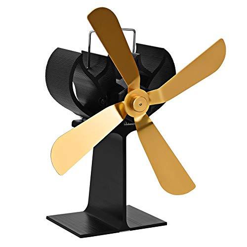 DLDL Wärmebetriebener Herd, 4-Blatt-Silent-Betrieb Wärmebetriebener Kamin-Kaminofen erhöht 80% mehr warme Luft Umweltfreundlich, Gold