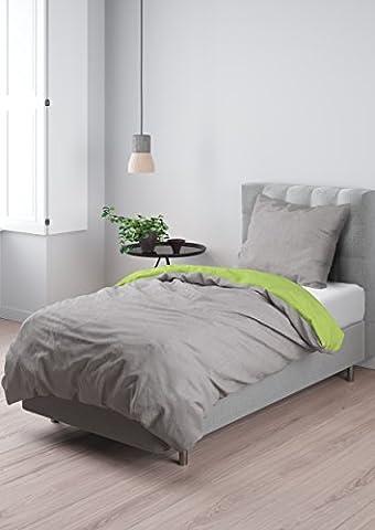 Aminata – hochwertige 2-teilige Wende-Bettwäsche in hellem Grau & Grün | Bettbezug 135x200 cm | Baumwolle + Reißverschluss | unifarbene Bettwäsche-Garnitur Anthrazit & Lime | Bezug