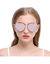 SDTM Gafas de sol, Cat Eye Lentes Planas Reflejadas Marco de metal Gafas de sol Mujer UV400 para Summer Street Fashion / Al aire libre / Viajes / Playa