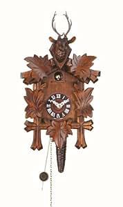 Pendule à coucou chantant tous les quarts d'heure avec mouvement 1 jour 5 feuilles, tête de cerf TU 624 nu