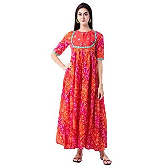 GULMOHAR JAIPUR Women's Cotton Printed Flared Kurta(Orange)
