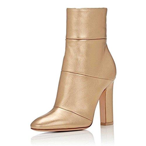 Jushee Booties Stiefeletten für Frauen Kleid High Block Chunky Heels Schuhe Pumps Gold 39 EU (Sexy Importiert)