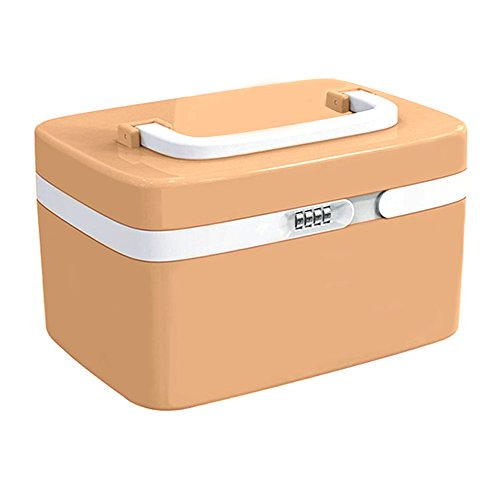 EVERTOP Medizinbox Abschließbar Erste Hilfe Box Tragbare Medizin Verbandskasten Medikamente Organizer 4 Fächer ABS Plastik Arzneimittel-Box Auch als Aufbewahrungsbox 10 L Medikamentenbox 20 x 28 x 17.4 cm - Khaki