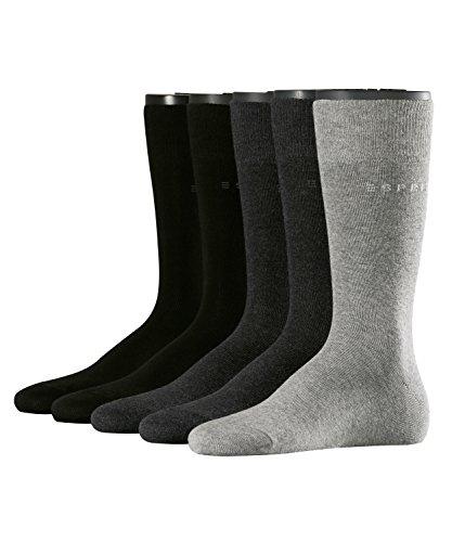 ESPRIT Herren Solid-Mix Socken Herrensocken, Blickdicht, Mehrfarbig (sortiment 30), 40 (Herstellergröße: 40-46) (erPack 5