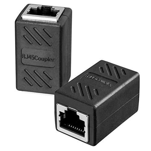 RJ45 Kabelverbinder (1 Stück) CAT6A kupplung LAN Verbinder Ethernet Netzwerkkabel Patchkabel Kabel Kupplung Kabel Adapter 2X RJ45 Buchse Vollgeschirmt DSL coupler Schwarz Modular Doppelbuchse -