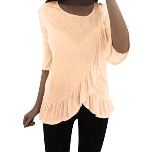 TYTUOO Damen Tops Fashion Oansatz Sommer Lässig Leicht Mittelarm T-Shirt Basic Solid Stitching Bluse