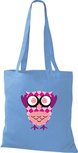 ShirtInStyle Jute Stoffbeutel Bunte Eule niedliche Tragetasche mit Punkte Owl Retro diverse Farbe, schwarz hellblau