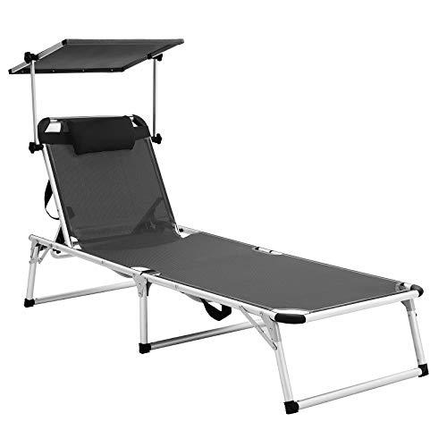 SONGMICS Sonnenliege aus Aluminium, klappbarer Liegestuhl, 193 x 67 x 32 cm, 250 kg max. statische Belastbarkeit, Kunstfasergewebe, Kopfkissen abnehmbar, Sonnendach verstellbar GCB19GYV1
