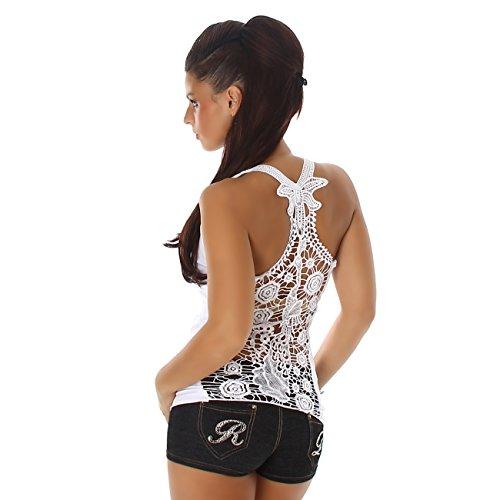 Jela London Damen T-Shirt Top Träger Shirt mit Spitze Rundhals Rücken-Stickerei Feinripp Weiß
