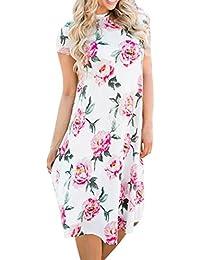 uface Women s Floral Print Round de Neck Short Sleeved Dress Floral Printed Short Sleeve
