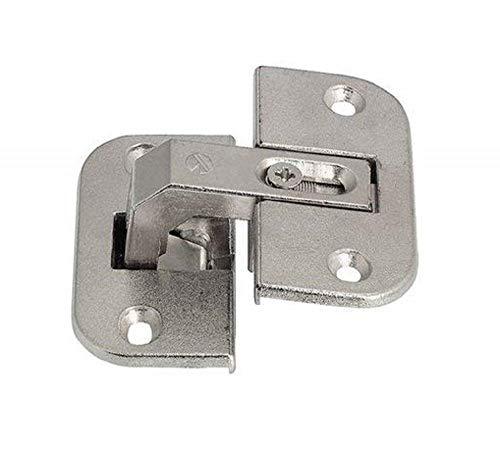 Falt-vier (Gedotec Falt-Türscharnier Eckschrank-Scharnier Möbelscharnier Stahl vernickelt | Fuge 4-18 mm | Schrank-Scharnier mit Öffnungswinkel 150° | 3-dimensional verstellbar | 1 Stück - Falttüren-Scharnier)