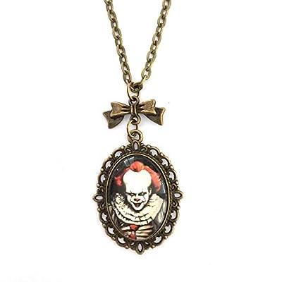 Collier Clown Pennywise horreur Halloween : Pendentif cabochon en verre, breloque noeud, couleur bronze, handmade