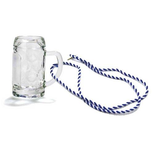 Bierkrug am Band, Schnapsglas, Mini-Stamper, Seidelchen (blau/weiß) (Schnapsglas Bierkrug Mini)