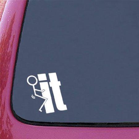 F**K IT FUNNY JDM 5.5' WHITE Vinyl Decal Window Sticker for Laptop, Ipad, Window, Wall, Car, Truck, Motorcycle by Prodashop (Window Decal)