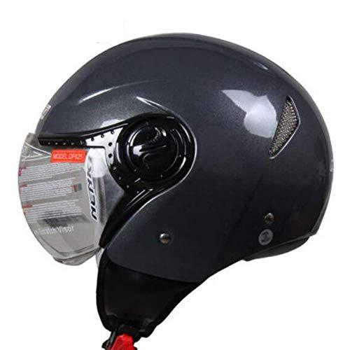MISJIA Motorradhelm Männliche Lokomotive Helm weiblichen Retro-Helm Sommer Vier Jahreszeiten Helm,C,M(56~58 cm