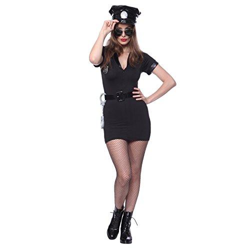 Gr.M Halloween Damen Kostuem Karnevalskostuem Faschingkostuem Polizistin Polizei Cop Polizist (Outfit Sexy Polizistin)