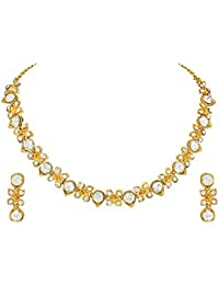Atasi International Diamonds Delicate Gold Choker Necklace Set For Women