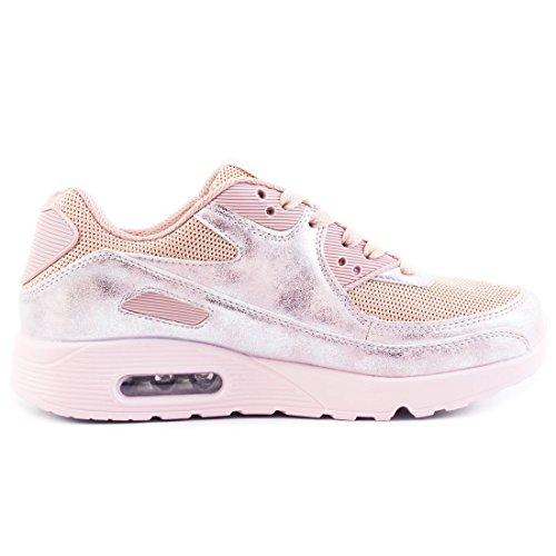 Trendige Unisex Damen Kinder Herren Laufschuhe Schnür Sneaker Sport Fitness Turnschuhe Moon Pink