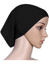 6cd9379fad1 QHGstore Femmes Tissu élastique Sweat Absorbant Coton sous-vêtement Hijab  Tube Cap