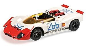 Minichamps 107692266-Porsche 908/02Spyder-Targa Florio 1969-Escala 1/18-Blanco/Rojo Fluo
