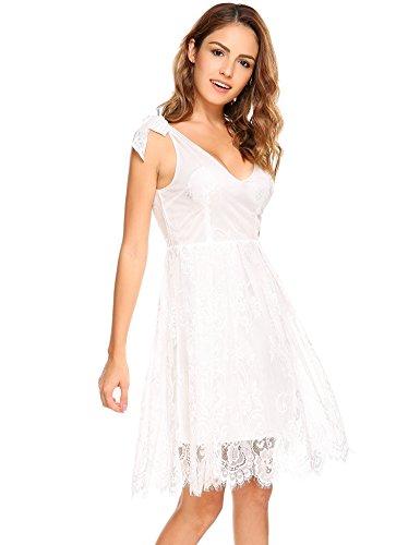Meaneor Damen Sexy Tiefer V Ausschnitt Floral Spitzen Kleid ...