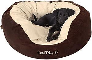 Marke: Knuffelwuff  Modell: Dooly  Farbe: Braun / Beige (siehe Originalfotos)  Grösse: L  z.B. Beagle, zwei Yorkshire Terrier oder ähnlich grosse Hunde  Länge x Breite x Höhe: ca. 80cm x 80cm x 30cm Gesamt  Länge x Breite: ca. 50cm x 50cm Liegefläche...