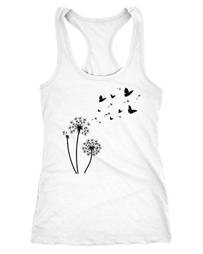 Butterfly-baumwolle-tank Top (Neverless Damen Tank-Top Pusteblume Schmetterlinge Dandelion Butterflys Racerback Weiß L)