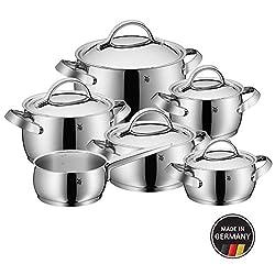 WMF Concento Topfset 6-teilig mit Metalldeckel, Kochtopf, Stielkasserolle, Cromargan Edelstahl poliert, Innenskalierung, Dampföffnung, Induktion