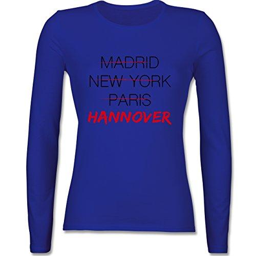 Städte - Weltstadt Hannover - tailliertes Longsleeve / langärmeliges T-Shirt für Damen Royalblau