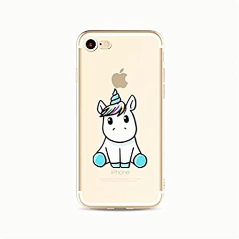 KSHOP Coque de protection en silicone souple cristal pour iPhone SE /iphone 5 /iphone 5S Téléphone CaseTPU ultra Slim Transpatent Couvrir avec douceur fonctionnelle Anti-rayures Antichocs Modèle d'animation dessiné à la main-Baby Licorne