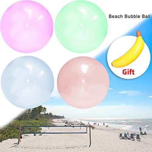 thorityau Übergroße aufblasbare Wasserball, Strand Bubble Ball für Sommer Strand Pool Party Supplies, Strand Spielzeug für Kinder Erwachsene, 4 Farben