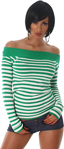Striped Jela Londres dames sweatshirt tricot fin Carmen Pull col long Sleeve Sweatshirt vert clair