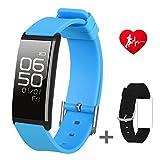 Slim Fitness Tracker Uhr mit Sleep Monitor Bluetooth Smart Watch Armband Sport Activity Tracker Pedometer mit Alarm Schritt Kalorienzähler Sleep Tracker für Android oder iPhone IOS, blau