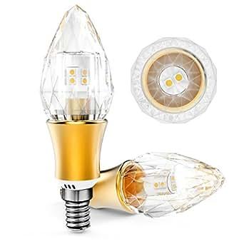 KINDEEP Lampadina LED E14 a Candela - 5W / 550LM, Equivalenti 50W, Bianco Caldo 2700K, K9 Cristallo Puro 360° Angolo a fascio, 220-240V, 1-Pack