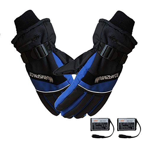 VIVImos Guantes eléctricos Recargables con calefacción eléctrica Caliente Impermeable y Resistente al Viento Guantes de esquí Calentador,Blue,M