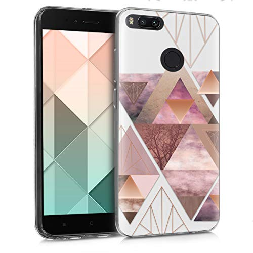kwmobile Funda compatible con Xiaomi Mi 5X / Mi A1 - Carcasa de [TPU] y diseño de triángulos en [rosa claro / oro rosa / blanco]