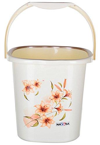Nayasa 2 Piece Plastic Bathroom Bucket and Mug Set, Off-White