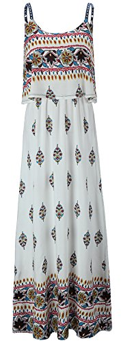 KorMei Damen Sommerkleid Ärmellos Boho A-Line Lang Kleid Maxikleid Party Strandkleid Weiß&Gelb XL (Weißes Kleid Frauen Party)