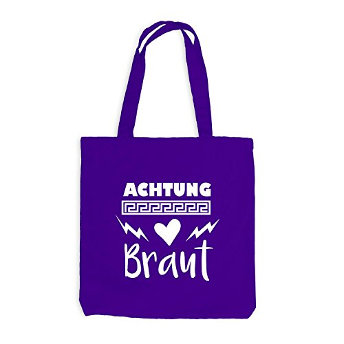 Jutebeutel - Junggesellenabschied - Achtung BRAUT Herz Blitz - JGA Style Violett