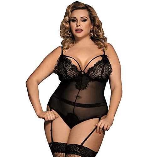 Extreme Versuchung Frauen Sexy Lace Slim Camisole Erotic Unterwäsche Lace Nachtwäsche Pyjama Set,Schwarz,XXXL -