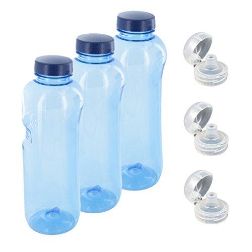 Trinkflasche 3 x 1 L Wasserflasche Tritan BPA frei + 3 x Trinkdeckel Flip Top -