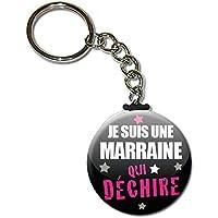 Je suis une MARRAINE qui déchire Porte clés chaînette 38mm ( Idée Cadeau Baptême Communion Noël )