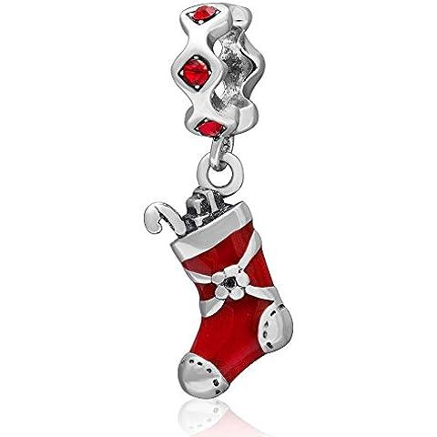 Calza di Natale con cristallo austriaco ciondolo pendente in argento 925e smalto rosso per Natale regalo braccialetti di perline