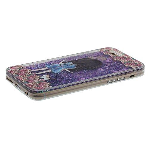 Rigid Dur Clair Coque Apple iPhone 6 Plus 5.5 Pouce, Beau Peu Fille Motif, iPhone 6S Plus Case Transparent Liquide Eau Style Écoulement Sable / Coeurs, PC Gel Material Pourpre-1