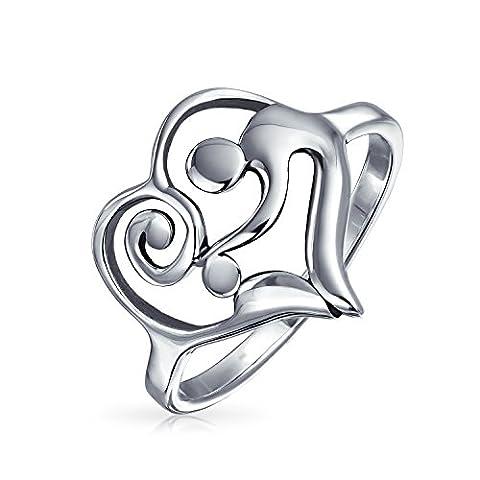 Bling Jewelry Sterling Silber 925 Swirl Mutter und Kind Herz Ring