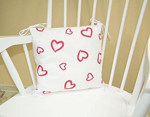 Amilian® Kissen als Nestchen, Nestchen mit Kopfschutz für Babybett 35cm x 35cm Design:Herzen Weiß