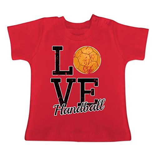 Sport Baby - Love Handball - 3-6 Monate - Rot - BZ02 - Baby T-Shirt Kurzarm