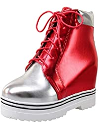 Coolulu Damen Keilabsatz Plateau Stiefeletten High Heels mit Schnürung  Ankle Boots Wedges Schuhe 8da31901d8